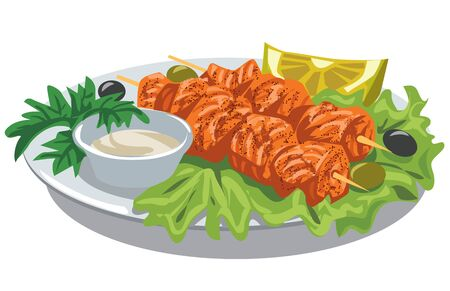 illustration of grilled salmon kebab with sauce and salad