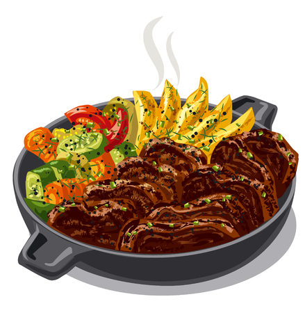 dinner: illustration of roasted meat with vegetables in pan Illustration