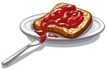 jam sandwich: illustration of sliced bread with jam on plate Illustration