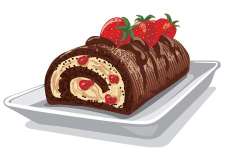 pastel de chocolate: ilustración de pastel de chocolate con fresa en el plato Vectores