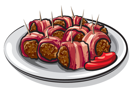 illustration of wrapped bacon meatballs on plate
