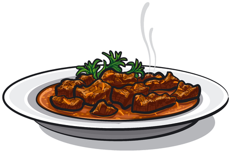 illustration of traditional goulash dish in plate