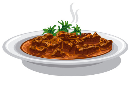 goulash: illustration of hungarian goulash dish in plate Illustration