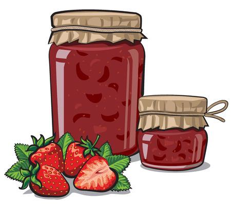 illustration of canned strawberry jam in jars Illustration