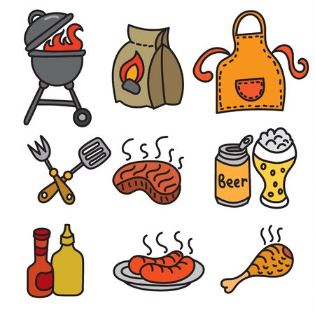 grill meat: set of barbecue and picnic icons, meat, grill and beer Illustration