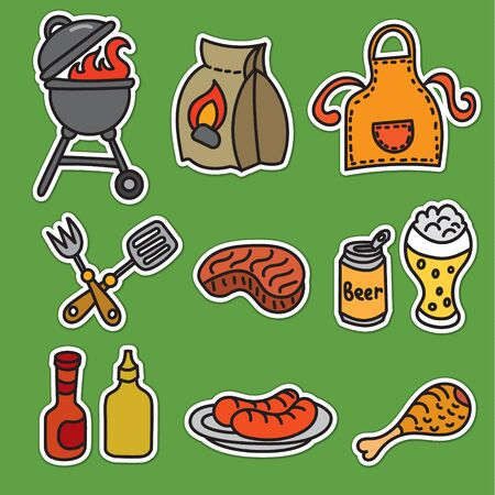 grill meat: set of barbecue and picnic stickers of meat, grill and beer Illustration