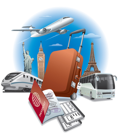 concept illustration of travel around the world, transport and passport with tickets Illustration