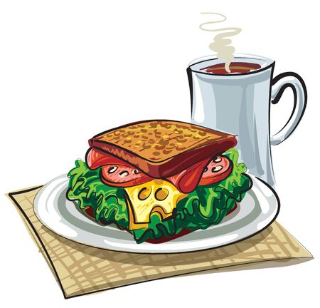 illustration of sandwich with sausage, cheese and mug of coffee Illustration