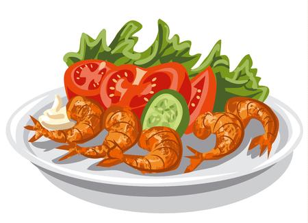 fried shrimp: illustration of cooked shrimps with vegetables salad on plate