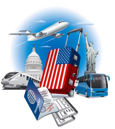 illustration du concept de la tournée aux Etats-Unis et américains monuments Vecteurs