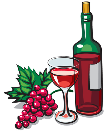 wine grape: illustration of bottle red dry wine with goblet and grape