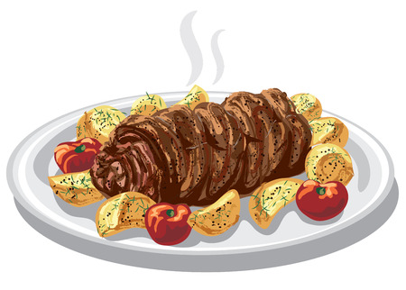 food dish: illustration of baked meat roulade with fried potatoes