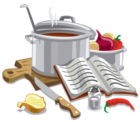 illustration of cooking soup with meal ingredients