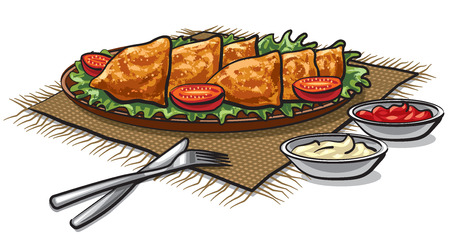 chutney: illustration of traditional indian food samosas with sauces