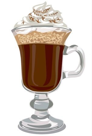 cappuccino: illustration of irish coffee with cream in glass Illustration