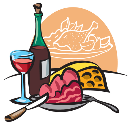 illustration of dinner with wine, cooked meat, cheese and main dish with baked chicken