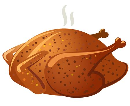 baked meat: illustration of hot fried baked roasted chicken meat Illustration