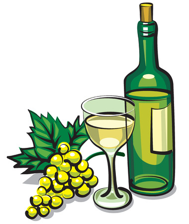 illustration of bottle white dry wine with goblet and grape