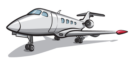 parked: illustration of private jet airplane parked in airport Illustration
