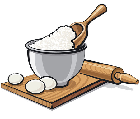 raw egg: illustration of bowl with flour and eggs for cooking Illustration