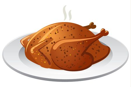 gourmet meal: illustration of hot baked roasted chicken on olate