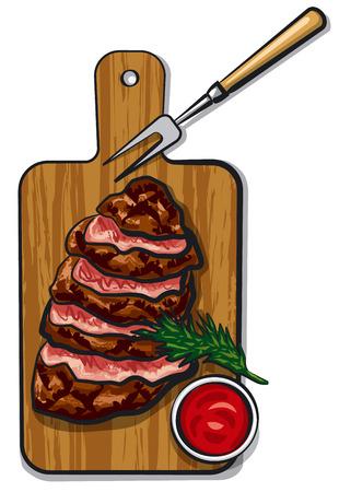 carne asada: Ilustración de filetes de carne asada a la parrilla en tablero de madera con salsa de tomate