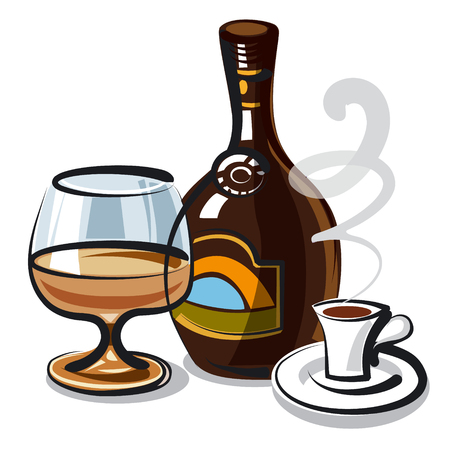 illustration of bottle with cream liqueur with coffee Illustration