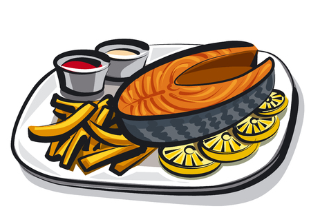 salmon fillet: illustration of cooked salmon with fries on plate Illustration