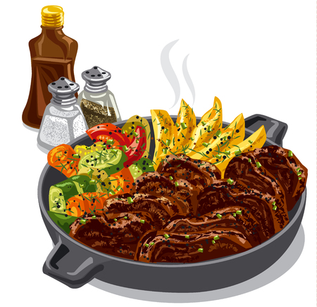 illustration of roasted beef with vegetables in pan with spices