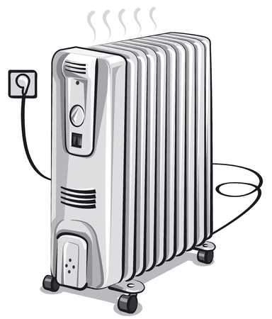warmer: Illustration of white metal oil electric heater.