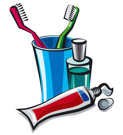 illustration of toothpaste tube with toothbrushes and mouthwash liquid