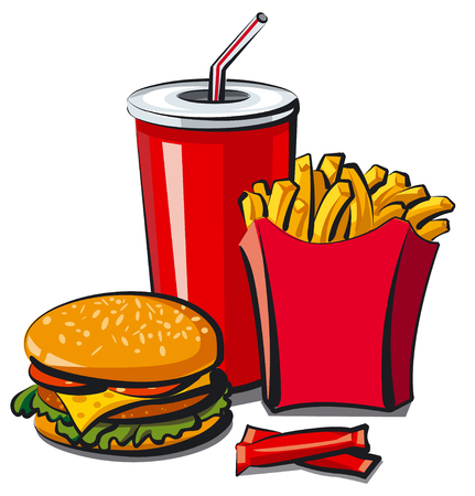 fast meal: illustration of fast food meal, hamburger, fries and cola