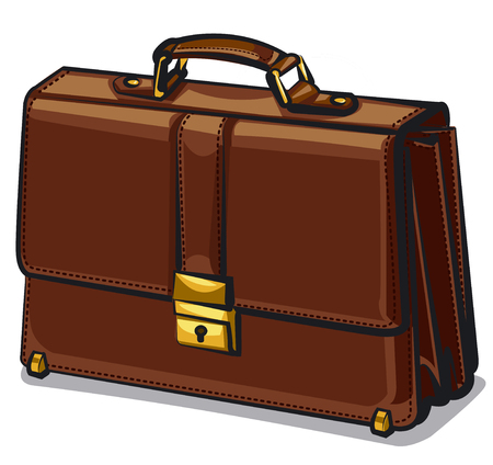 illustration of business leather brown briefcase