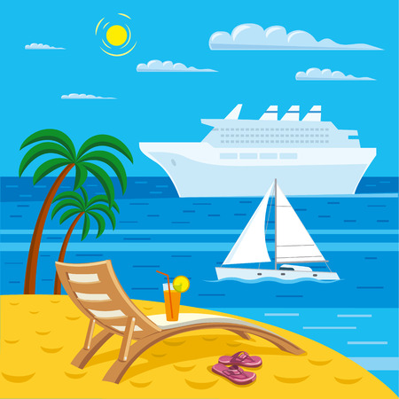 at leisure: illustration of tropical sea beach resort and travel