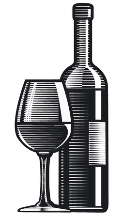 engraving style illustration of wine bottle with glass