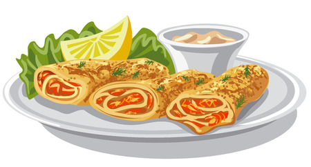 filled: illustration of baked pancakes with salmon and sauce Illustration