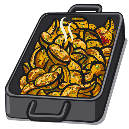 illustration of baked grilled potatoes in pan