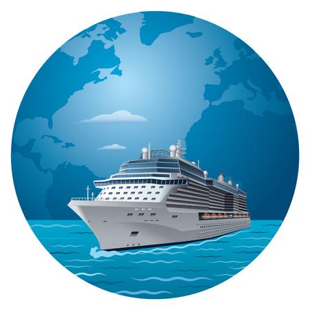Illustratie van cruiseschip rond de wereldreizen Vector Illustratie