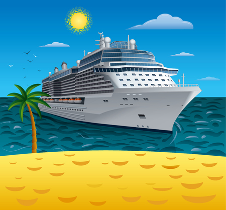 cruise travel: Illustration of cruise liner to tropical sea beach resort.