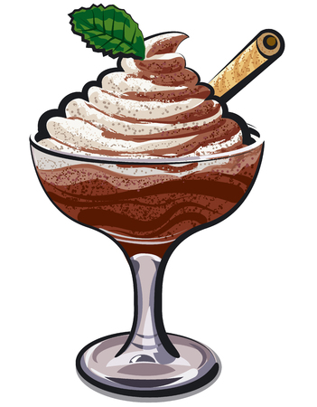 illustration of chocolate mousse in glass with mint leave