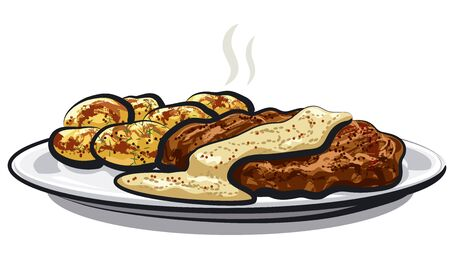 illustration of baked meat with boiled potatoes and sauce