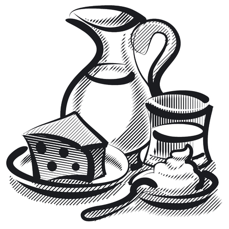 cottage cheese: linocut style illustration of milky product, cheese and sour ceam