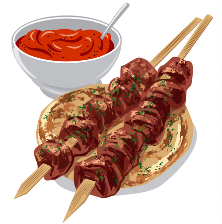illustration of grilled meat kebabs on pita bread with tomato sauce