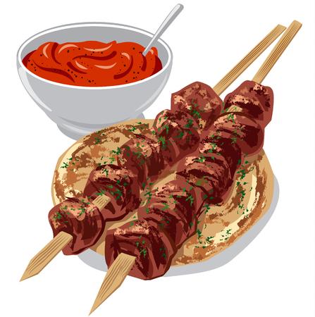 Ilustración de kebabs de carne a la parrilla en pan pita con salsa de tomate
