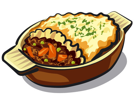 illustration of traditional shepherd pie in casserole Ilustração