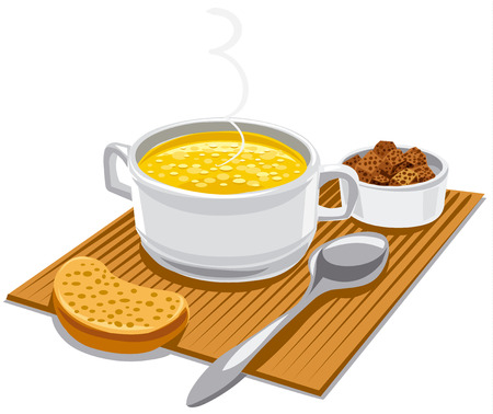 illustration of hot chicken broth in bowl with croutons Illustration