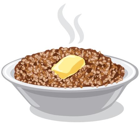 ボウルにバターと茹でたそば米雑炊のイラスト  イラスト・ベクター素材