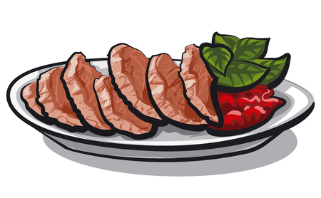 Illustration of sliced goose liver with basil leaves and berry sauce Illustration