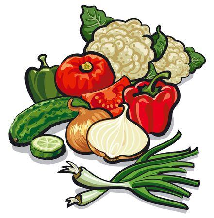 Illustration of harvest of different raw vegetables Ilustração