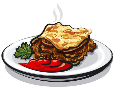 Illustrazione di greco moussaka con salsa di pomodoro sulla piastra
